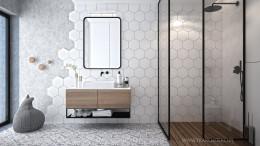 Łazienka z heksagonalnymi płytkami