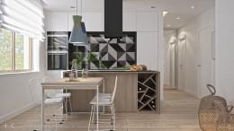 Salon z geometrycznym wzorem