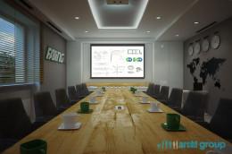 Projekt wnętrza sali konferencyjnej firmy FASING