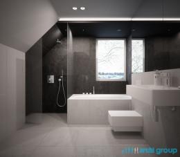 Projekt wnętrza łazienki na poddaszu w Piekarach Śląskich