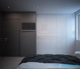 Projekt wnętrza sypialni na poddaszu w Piekarach Śląskich