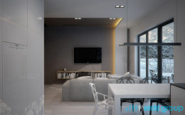 Projekt wnętrz salonu mieszkania w Świętochłowicach