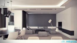 Projekt wnętrz salonu w apartamencie w Katowicach