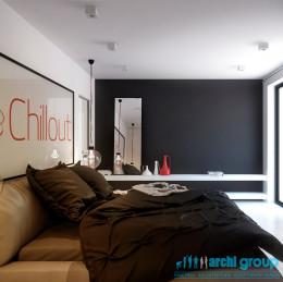 Projekt wnętrza sypialni w domu jednorodzinnym w Katowicach
