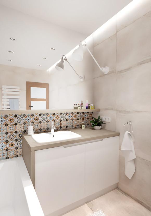 Beżowa łazienka Inventive Studio Artur Jóźwik E Aranżacjepl
