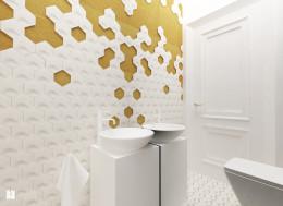 gościnna łazienka z plastrem miodu