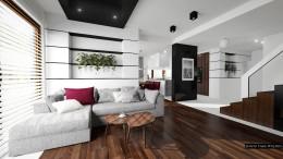 Nowoczesny biało-czarny salon