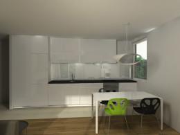 Kuchnia i salon w małym mieszkaniu