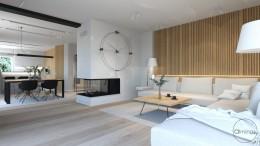 Nowoczesny salon, naturalne wnętrze