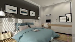 Sypialnia z dużym zagłówkiem