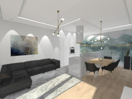 Projekt konepcyjny salon z aneksem kuchennym i sypialnia.