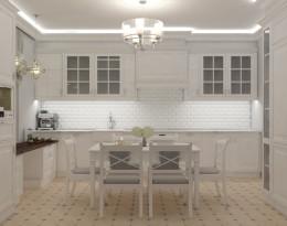 Klasyczna duża kuchnia w bieli