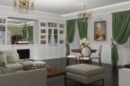 Salon w stylu klasycznym z biblioteką i kominkiem
