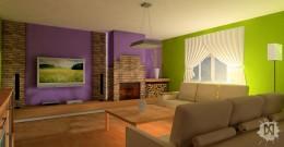 Wizualizacja salonu (dom jednorodzinny)