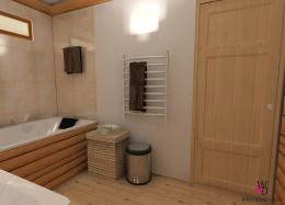 Łazienka z drewnianymi balami