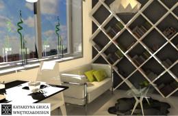 Salon z kuchnią inspirowany Origami.
