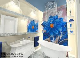 Kobieca, stylizowana łazienka z szafirowymi akcentami.