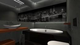 Łazienka - betonowa szarość+ciepłe drewno