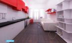 czerwone mieszkanie