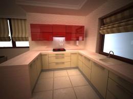 kuchnia z czerwienią