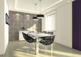 Salon z jadalnią  w domu jednorodzinnym.