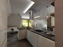 Salon z kuchnią w małym mieszkaniu na poddaszu w Krakowie