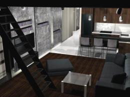 Projekt salonu z aneksem kuchennym i antresolą.