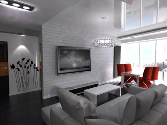 Salon z aneksem mieszkanie pozna 55m2 aleksandra for Sejour cuisine 35m2