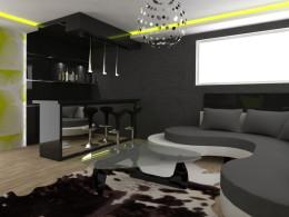 projekt salonu z barkiem
