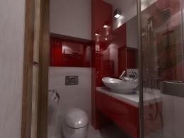 Ognista czerwień w łazience