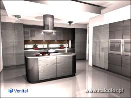 Okleina modyfikowana Venital w kuchni z wyspą