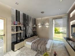 Sypialnia połączona z łazienką w willi w Sopocie