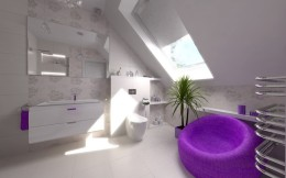 Łazienka z akcentem fioletu