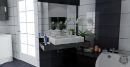 Łazienka biało-czarna (dom jednorodzinny) pow. 8,5 m2