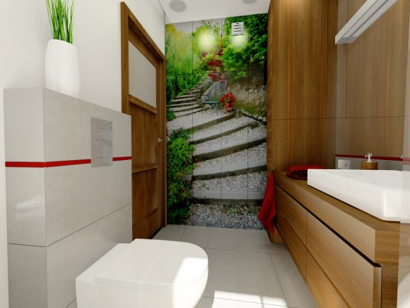 łazienka Z Fototapetą Fabryka Nastroju E Aranżacjepl