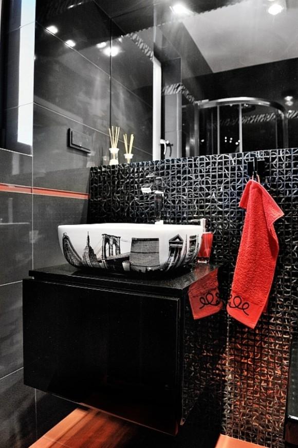 łazienka Czerwono Czarna Anna łysiak E Aranżacjepl
