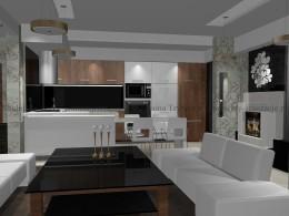 Salon z kuchnią styl nowoczesny z elementami glamour