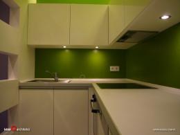 Kuchnia z zielonym kolorem w tle