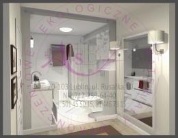 Przedpokój i łazienka w mieszkaniu prywatnym