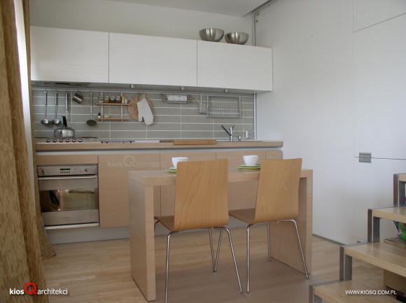 Kuchnia dąb modyfikowany i lakier biały połysk  KIOSQ ARCHITEKCI  e aranżac   -> Kuchnia Wanilia Dąb
