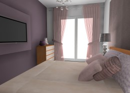 sypialnia delikatnie fioletowa