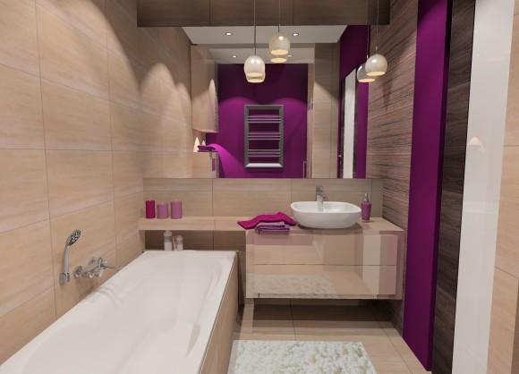 łazienka Z Fioletowym Akcentem Pracownia Aranżacji Wnętrz