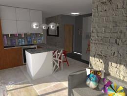 Projekt salonu z aneksem