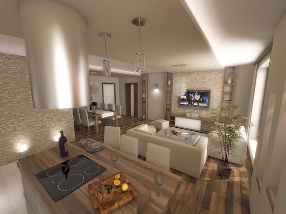 Salon Z Kuchnią W Mieszkaniu Jakub Włodarczyk E Aranżacjepl