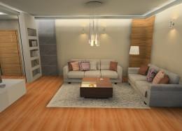 Ciepły salon z betonem