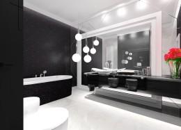 Łazienka biało czarna.