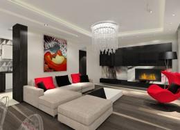 Apartament z graficzną tapetą.