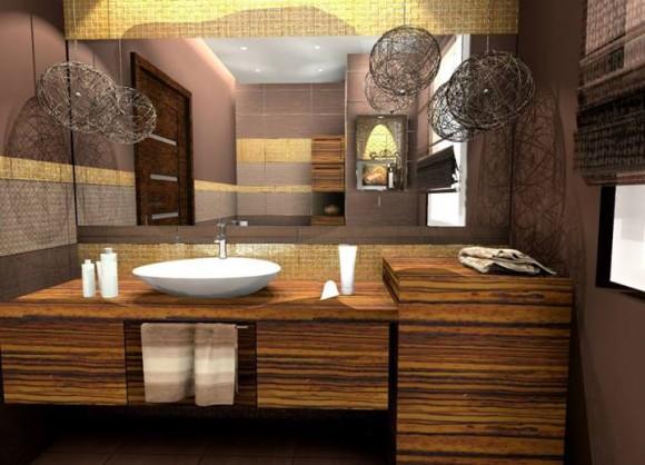 Brązowo Złota łazienka Pracownia Aranżacji Wnętrz O