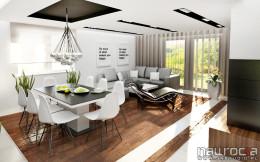 elegancki salon z kuchnia