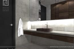WARSZAWA WILANÓW  Projekt łazienki z betonem